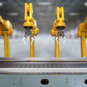 Roboter Arme am leeren Fließband, 3D Rendering